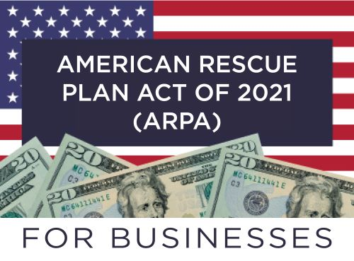 image of American flag with dollar bills and text ARPA for businesses