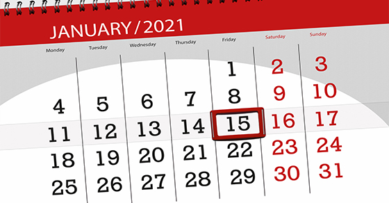 image of calendar with 15 circled